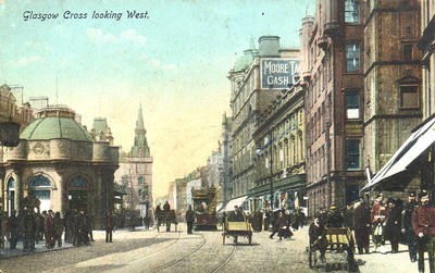 via Wikimedia Commons https://upload.wikimedia.org/wikipedia/commons/7/78/Glasgow_Cross_looking_West_postcard_1900s.jpg