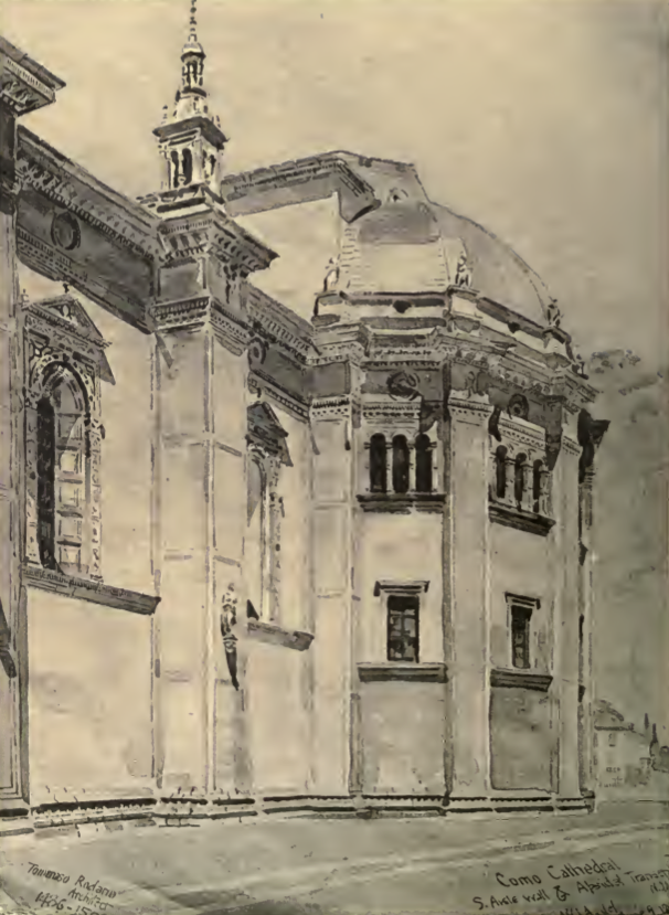 A rendering of Tomasso Rodaro's Cathedral in Como, by William J Anderson