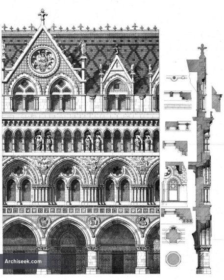 via Archiseek: http://archiseek.com/2011/1867-%E2%80%93-design-for-royal-courts-of-justice-london/#.VAByXdq9KSM